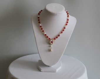 Red White and Gold beaded necklace with pearl tear drop pendant
