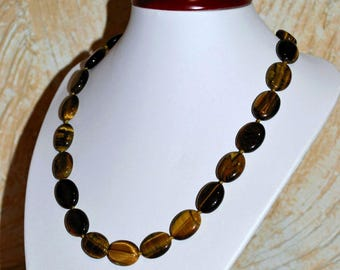 Tiger eye necklace. Tiger eye oval beads.