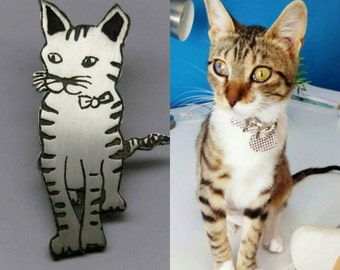 Silver kitten, personalized from your photo. Pet Jewelery