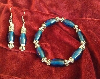 Robin egg blue Bracelet and earrings;Robin egg blue molded glass with Bali silver and matching earrings