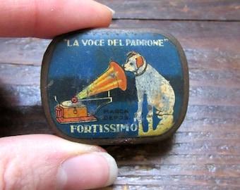 Gramophone needle italian tin box, vintage, His Master Voice