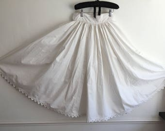 Natural Cotton Petticoat Circle Skirt with Hand Sewn Triangle Hen
