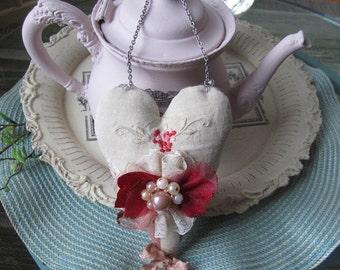 Heart Ornament - Vintage-style Heart Decor - Victorian Fabric Heart