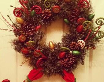 Christmas Wreath, Elf Wreath, Holiday Wreath