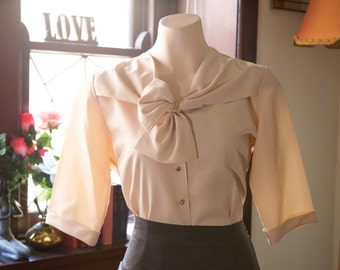 soft light pink vintage blouse with bow / neck tie and rhinestone details