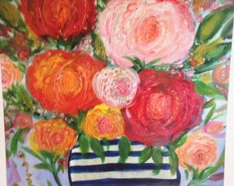 "Giclee art print, "" bunch of roses "" 10x10"