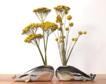 whale vase / bud vase / splotchy grey highlights whale