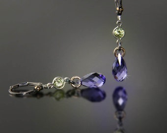 Tanzanite Blue Violet Briolette Earrings with Pale Peridot Cubic Zirconia
