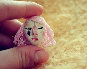 Pink pierrot girl // clay pin