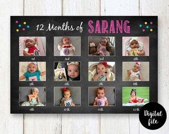 First 12 months collage - Baby's First Year - 1st Birthday Photo Collage chalkboard sign - First birthday backdrop sign - DIGITAL file!