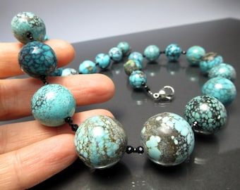 Genuine Turquoise  necklace natural birthstone december gift present birthday gemstone colorful collier silver beads bride christmas present