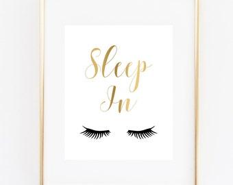 Sleep In Art Print, Eyelashes Art, Mascara Print, Fashion Print, Lashes Decor, Glamour Art, Makeup Print, Faux Gold Bedroom Wall Art