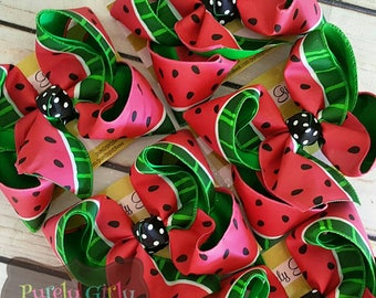 Watermelon Hairbow Large Summer Hairbow Exlarge Pink Green