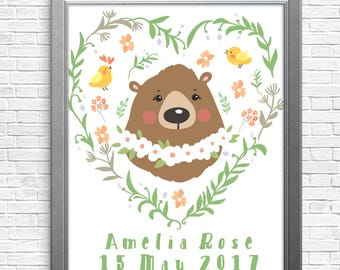 Custom wall art - personalised, digital art, whimsical illustration, bear and bird, nursery art, baby gift, baby girl, any text you want