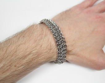 Interwoven 4 in 1 Bracelet, Chainmaille Bracelet, Stainless Steel, Chainmail Bracelet, Chain Maille Bracelet, Mens Bracelet, Mens Jewelry