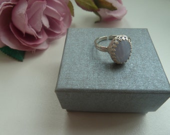 Blue lace agate sterling silver gallery wire ring