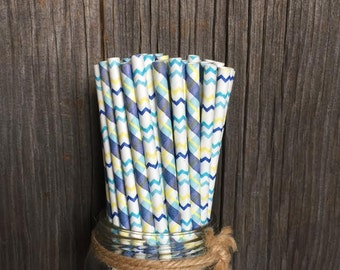 Navy Blue, Light Blue, Yellow and White Plaid, Chevron and Stripe Paper Straws, Baby Boy Shower, Birthday Party Supplies, Disposable Goods