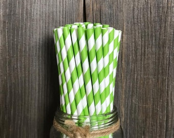 100 Lime Stripe Paper Straws, Birthday Party Supply, Baby or Bridal Shower, Picnic Paper Goods, Disposable Tableware, Cake Pop Sticks