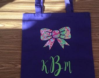 Bow Monogram Tote Bag