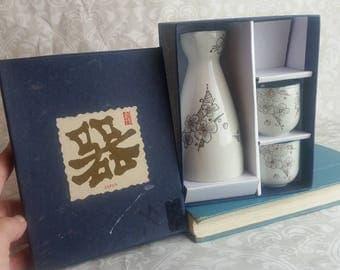 Authentic Japanese Sake Set Vintage 1950s I Japanese Dinnerware I Wedding Couple Bridal Gift I Sushi Sake Lovers I Fathers Day Gift