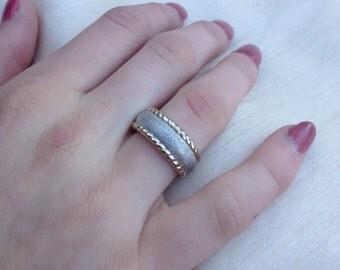 Sale: Rare Charles Garnier 18K Gold Sterling Silver Band Ring-Charles Garnier Gold Sterling Silver Ring-Gold Ring