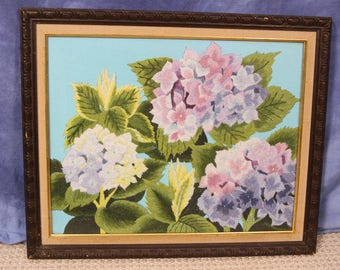 "Beautiful Large 22"" Vintage Framed Flower Crewel, Completed"