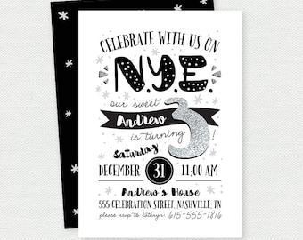 New Years Eve Birthday Invitation