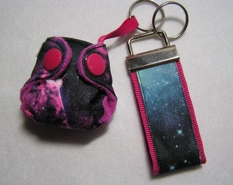 Pocket Cloth Diaper Keychain diaper set with key fob strap,Galaxy diaper pocket style with insert! space diaper, key fob