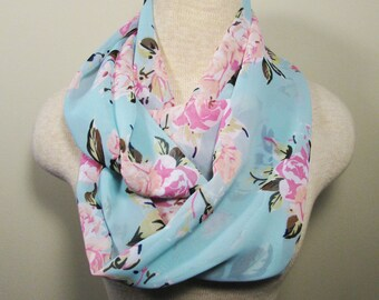 Infinity Scarf - Lightweight Summer Scarf - Mint Scarf with Pink & Peach Flowers - Spring Scarf