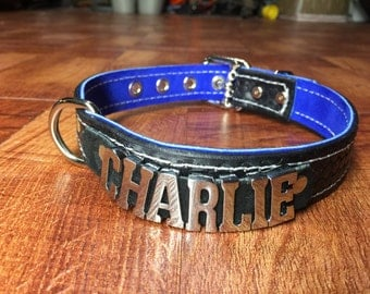 "Custom Leather Dog collar 1"" wide any name/word choose colors Charlie Bailey Max"