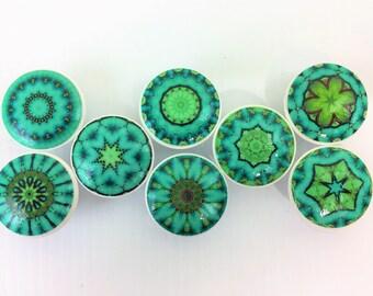 Set of 8 Green Envy Mandala Cabinet Knobs