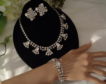Full Parure Small Size Rhinestone Rhodium Silver Plated Necklace Matching Bracelet Clip on Earrings Prom Special Occasion  Designer Quality