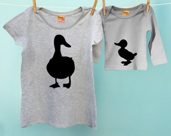 Mummy and Me Mother Duck Matching T-Shirt Twinset with Son or Daughter Duckling t shirt