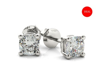 Diamond Studs Earrings, 14K White Gold (0.40 tcw)