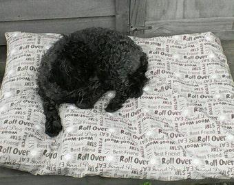 Brown Canvas Bean bag - Dog bed or cat bed - pet bed - medium - large