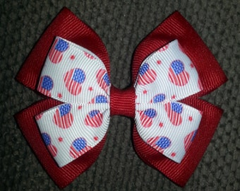 USA 4th of July Patriotic Handmade Basic Bow