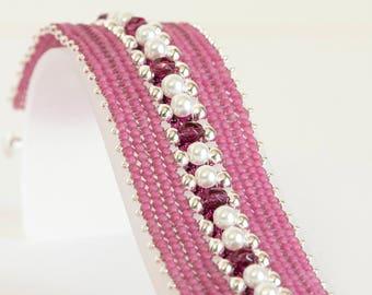 Herringbone Bracelet - Seed Bead Bracelet in White Glass Pearls, Magenta FP, Silver & Pink Seed Beads - Seed Bead Jewelry - Beadweaving