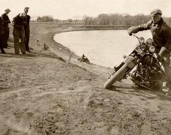 Vintage 1930s Motorcycle Hillclimb Photographic Print on Canvas