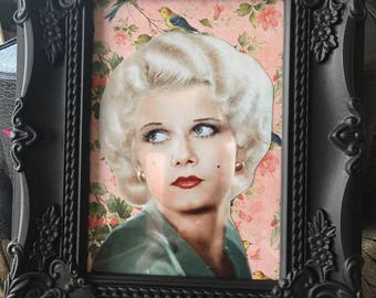 Jean Harlow print on floral background black frame 7x5""