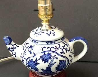 Blue and White Teapot Lamp