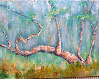 oil painting/Sycamore tree/contemporary art/9x12 inches