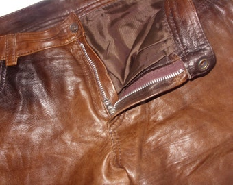 Vintage genuine leather brown men pant very soft real leather