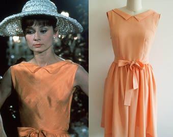 Audrey Hepburn Dress/ 60s/ Orange Dress/ 1960's/ Custom made dress/ Casual Dress/ Hollywood/ Paris as it sizzles/ Movie dress