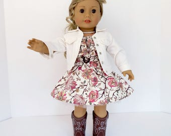 Pink Country Rose OUTFIT for 18 inch dolls such as American Girl® Tenney Grant® Includes Sleeveless Ruffle Dress, Denim Jacket and Crinoline