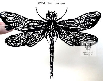 Dragonfly Paper Cutting Template Omen Angel for Personal or Commercial Use by Wilchild Designs Papercut Cut Insect Intricate Wing Nature
