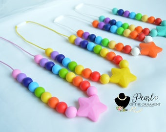 Star Rainbow chewelry silicone teething necklace nursing silicone teether sensory necklace bite boys girl chew necklace autism ADHD Autism