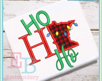 Ho Ho Ho Minnesota Applique - This design is to be used on an embroidery machine. Instant Download