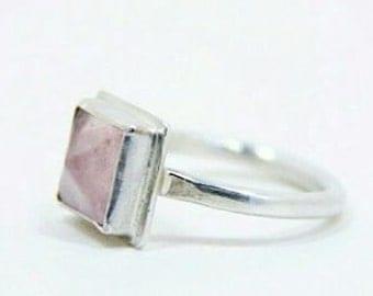Brushed Sterling Silver Rose Quartz Ring