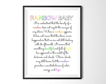 Rainbow Baby Saying, Rainbow Baby Explanation, After the Storm, Pregnancy Loss, IVF, IUI, Infertility, Miscarriage, New Baby, Digital Print