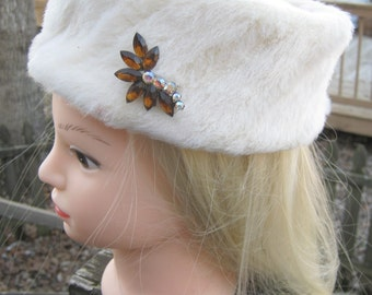 """White Faux Fur Pillbox Hat, 1960's Formal Winter Hat, Faux Gems Embellishment, """"Adorables"""" Tag, Ladies Accessory,  21 Inch Circumference"""